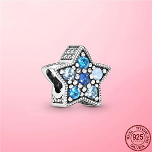 2020 New 925 Sterling Silver Bright Blue Star Charm Blue CZ Beads fit Original Pandora Charm Bracelet Silver 925 Jewelry Making10