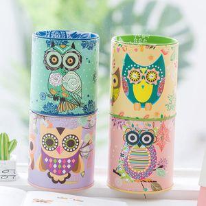 Owl Cartoon Pen Holder Vase Color Pencil Box Makeup Brush Stationery Desk Set Tidy Design Piggy Bank Christmas Gift