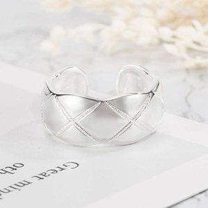Versión Simple Rhombic Plaid Apertura Femenino Coreano Índice Personalizado Anillo In Ins Ins Instablecimiento Silver Plateado Joyería