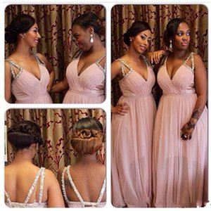 Cheap Deep V Neck African Bridesmaid Dresses Long Plus Size Chiffon Formal Gowns Criss Cross Straps