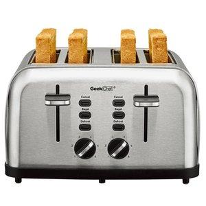 Хлебные производители Extra Extra Slots четыре ломтические тостер, бублика / размораживание / отменить функцию 6 Настройки Browning Auto всплывающие съемные съемные крошки лоток (4-х ломтик), нержавеющая сталь