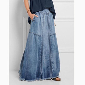 KALENMOS Denim Jeans Women Long Skirt Stretch Vintage Loose Slim Fit Blue Club Streetwear Chic Sexy Harajuku Skirts Plus Size