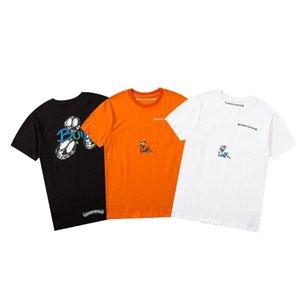 2021 T-shirt da uomo e da donna Splicing Stampa manica corta Early Spring Double Strand Belle cotone tessuto di stampa digitale ECE345