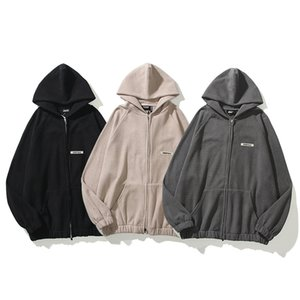 2021 FOG Zipper Jacket Essential Hoodies Outfit Cotton Long Sleeve Hooded Stereo Alphabet Men's And Women's Oversize sweatshirts