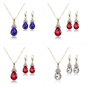 Crystal Diamond Water Drop Necklace Earrings jewelry Sets Gold Chain Necklace for Women Fashion Wedding Jewelry Sets will and sandy 240 R2