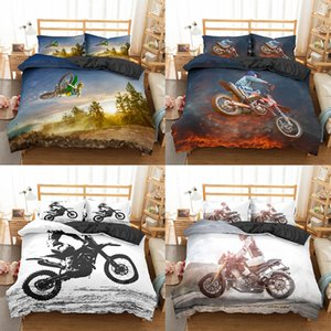 Homesky Motocross Bedding Set For Boys Adults Kids Off-road Race Motorcycle Duvet Cover Bed Cover Single King Double 2 3pcs Suit 210309