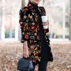 Tweed Print Blazers Женщины осень зима плюс размер для моды женские костюмы пальто бизнес 210603