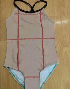 Дети девочка одноклассные купальные костюмы плед принт девушки купальники полосы бикини детский купальник пляжная одежда комбинезон одежды