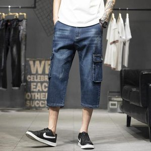 Mens Summer Thin Denim Short Men Jeans Fashion Streetwear Hip Hop Long 3 4 Capri Cargo Shorts Plus Size 40 42