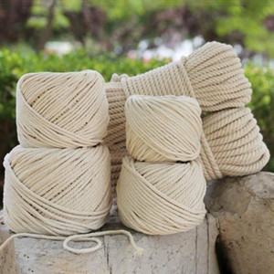 1mm 3mm 4mm 5mm Natural Handmade Cotton Cord Thread Macrame Crochet Rope DIY Hanging Tapestry Weaving Yarn Knitting Rope