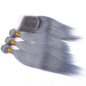 Nouvelle arrivée Silky Silky #grey Pure Couleur Vierge Vierge Bundles avec dentelle Frontal 4 pcs Lot Brésilien Vierge Vierge Hair Tissu