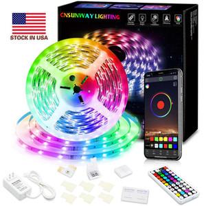 Scorte degli Stati Uniti + RGB LED Strip Light SMD5050 5M 10m 15m 20m 44key RF Telecomando Telecomando WiFi RGB Striscia LED Bluetooth LED Strip