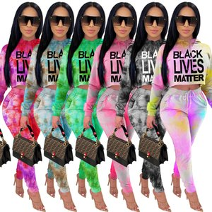 Women Two Piece Set Tie Dye Tracksuit Casual Letter Print Long Sleeve Hooded Pullover Pencil Pants Outfits Ladies Fashion Clothing 2021