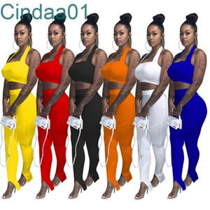 Women Tracksuits Two Piece Sets Designer 2021 New Jogging Suits Solid Color Bra + Split Leg Pencil Pants Sportswear