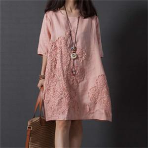 dresses for womens good quality Linen cotton short sleeve loose dress, women plus size stripe patchwork casual dress summer dresses