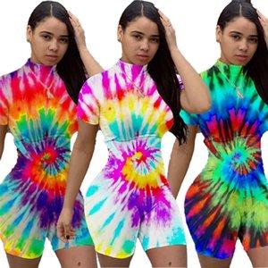 Summer Tie d'été Combinaison teint Jumpsuit imprimé à col haut Manches courtes Tshirt Shorts Rompers Sexy Jumpsuit Party Night Club Bodysuits GG32H367