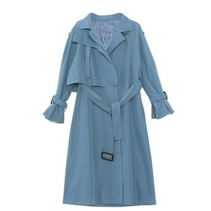 Women's Trench Coats Fashion Trend Straight Over-the-knee Long Windbreaker Jacket Lapel Tie Solid Color