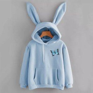 2021 Yeni Sonbahar Kış Kawaii Tavşan Kulakları Moda Baskı Hoody Rahat Katı Renk Kazak Hoodies Kadınlar için Leuz