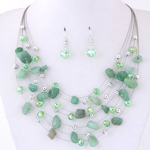 Bohemian Style Mint Green Crystal Stone Wedding Jewelry Sets For Bride Women Girls Drop Earrings And Necklace Boho Beach Wedding Accessories