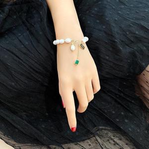 Japonesakorea moda marca jóias cristal quadrado charme pulseiras pulseiras de pérola de água doce braceletes para mulheres presente