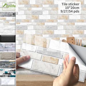 Funlife® Black and White Marble Tile sticker Wall sticker Wallpaper Oil Proof Peel & Stick for Bathroom Kitchen Backsplash Floor