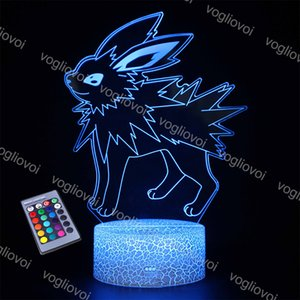3D Night Lights Acrylic Series Animal Fox Pet Cute Cartoon 16Colors Changeable Crack ABS Base For Kids Child Bedroom Decor Manga Gift DHL