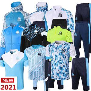 2021 2022 Yeni Olympique de Marsilya Eşofman Futbol Ceket Maillot de Foot 21 22 Payet L.gustavo Thauvin OM Futbol Ceket Eğitim Takım