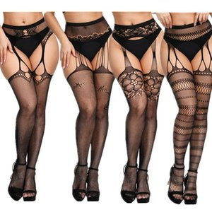 New Plus Size Fishnet Stocking Sexy WomenTight Open Crotch High Waist Lingerie Garter Fishnet Pantyhose Crotchless Mesh Tight