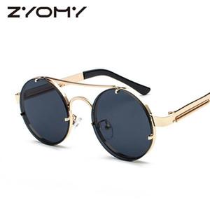 Q Zyomy Vintage Gafas Steampunk Retro Gafas de sol Redondo Mujeres Gafas Mujeres Sombras Doble Haz Feminino Gafas
