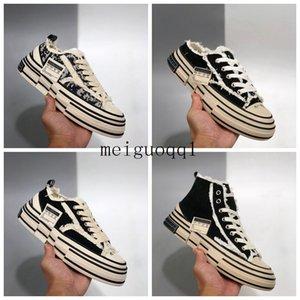2021 Sapatos femininos afligidos Sapatos de soluções de espessura vulcanized implorando implorando a metade arrastar Sapato'spieceggar destruição de lona # sapatos casuais # 35-44
