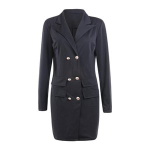Women's Trench Coats Black White Women Coat Casual Double Breasted Blazer Lady Long Jackets Pocket Sleeve Blazers Suit Outerwear