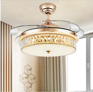 Led Invisible Crystal Fan Light Ceiling Fan Light Living Room Dining Room With Remote Control European Chandelier