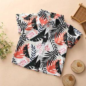Рубашка рубашка для мальчика малыша мальчики одежда 2021 летние листья печать кнопки поворота воротника