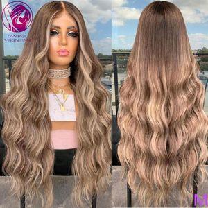 Ceniza Brown Blonde Balayage Encado Peluca Frente Body Wave Pelucas de cabello humano Peluca Larga 13x4 / 13x6 Brasileño Remy Transparente 150%