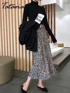 Tataria cópia do leopardo vintage com festa alta festa casual streetwear estilo elástico cintura midi saia