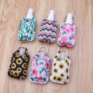 Portable 30ml Travel Refillable Empty Travel Bottles with Keychain Holder Set Wristlet Keychain Bottle Container with Flip Caps