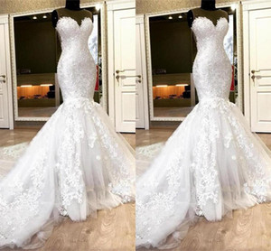 2021 Lace Applique Wedding Dresses Mermaid Jewel Neck Sleeveless Sweep Train Tulle Custom Made Beach Wedding Bridal Gown vestidos de novia