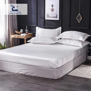Liv-Esthete Luxury 1PCS Fitted Sheet White Solid Color Satin Silk Fabric Bed Linen Euro Elastic Band Rubber Sheet Mattress Cover