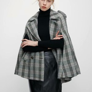 2021 New Women's Double Breasted Cloak Sleeve Plaid Tweed Cape Coat Autumn Winter Elegant Ol Workwear Women Turn Down Collaroutwear Coa N4EQ
