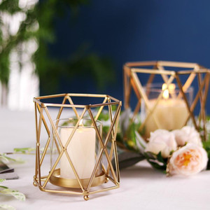 Nordic Metal Gold Candle Holders Ceramic Ashtray Hollow Out Candle Holder Home Decor Wedding Holiday Decorations New