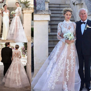 Muslim A Line Wedding Dresses High Neck Long Sleeve Lace Appliques Country Bridal Gowns Sexy Illusion Wedding Robe