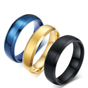 NEW 3 Colors Blue Titanium Steel Ring Stainless Steel Rings for Men Women Wedding Ring Cool Simple Band 6mm