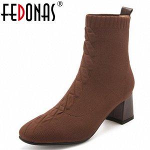 Fedonas Knit Style Style Donne Autunno Stivaletti Inverno Stivaletti Stretch Slim Stivali Brevi Tacchi alti Casual Casual Square Shoes Shoes Woman O6yi #