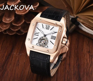 Square Designer Genuine Leather Strap Mens New Men Mechanical Automatic Movement Watch Sports Self-wind Fashion Watches Wristwatches