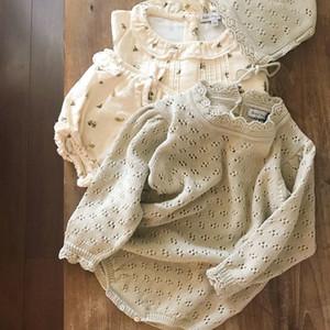 Enkelibb ребёнок вязаный ползунок винтажный стиль младенческая одежда кремовый цвет прекрасный цельник 210304