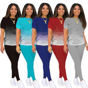 Womens sportswear short sleeve outfits 2 piece set women tracksuit jogging sport suit sweatshirt shirt leopard trousers suit klw0064