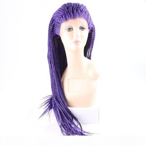 Box Braids Wig Purple Colored Lacefront Heat Resistant Glueless Braided Lace Front Wigs Synthetic For African American