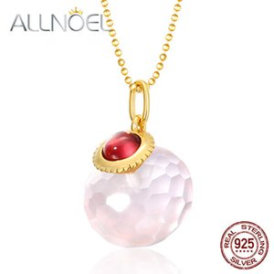 ALLNOEL 925 Sterling Silver Sweater Chain Gives Women Natural Rose Quartz Moissanite Garnet Party Gifts Fine Jewelry