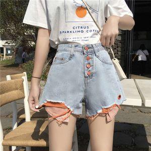 Women's summer new Korean version loose and thin big size fat sister wear high waist jeans wide leg hot pants