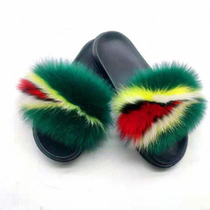 New Womens Real Fur Slippers Home Furry Shoes Fluffy Plush Sandals Soft And Comfortable EVA Sexy Flip Flops Size 36 45 Girls Shoes Bea G94P#